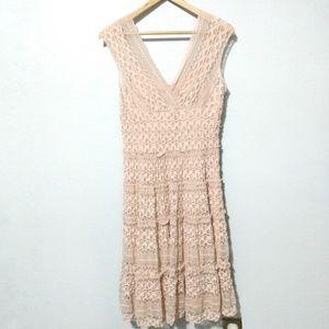 Max Studio Lace Boho Dress Blush Pink